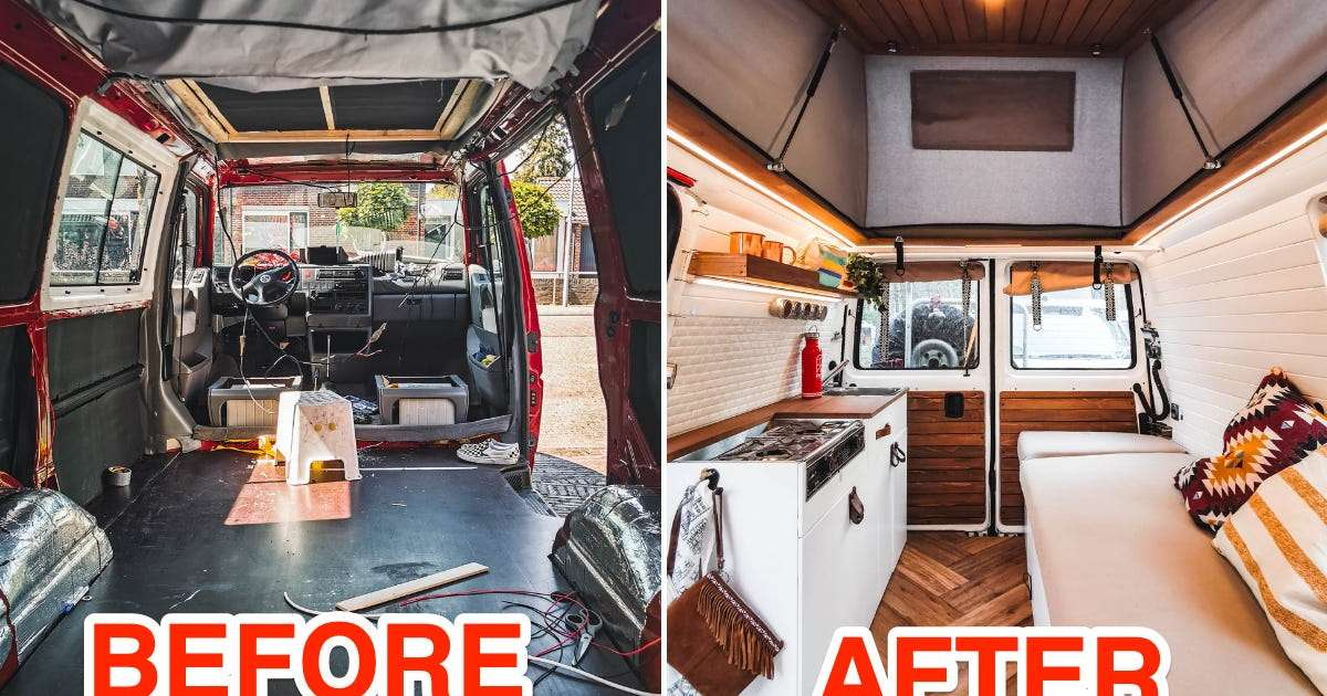 A family of 4 transformed their van into a bohemian tiny home on wheels